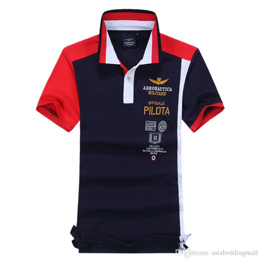 b6e10fd6d59 2019 New 2017 Brand POLO Summer Air Force One Embroidery Men S Aeronautica  Militare Men Shirts Diamond Fashion Shark Clothing From Asiabeddingmall