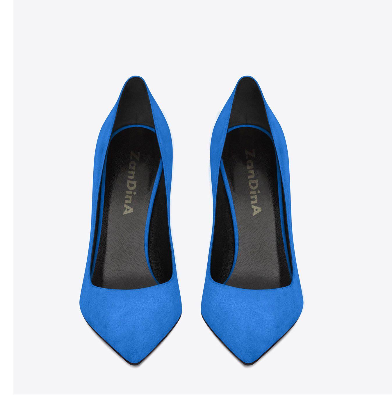 Zandina Womens Fashion Handmade Classic Pairs 100mm High Heel Escarpin Pumps Slip-on Pointed Toe Office Party Shoes Blue Z626293