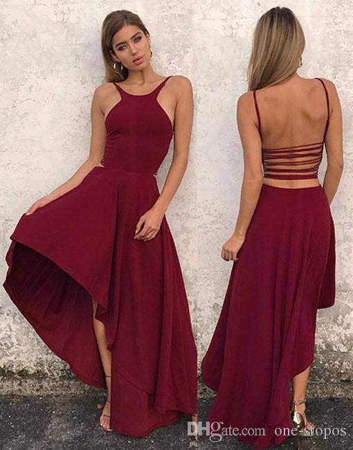0c1dc08a3d0 Sexy Asymmetrical Long Prom Dresses 2017 Dark Red Black Chiffon Beach  Holiday Formal Evening Party Gowns Backless Cocktail Celebrity Dress Cheap  Camo Prom ...