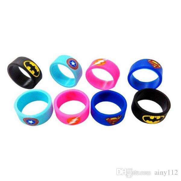 Vaporizer Vape Band Silicone Ring Colorful Decoration Protection Rubber Rings Deadpool Flash Hulk Batman Logo Fit E Cigarette Mods DHL Free