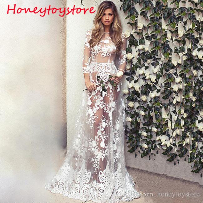 abad3ea11d2b Ladies Perspective Sexy Night Club Maxi Floor Long Dresses for Wedding  Party Long Sleeve Sheer White Lace Dress Women Party Dresses Prom Dresses  2017 ...