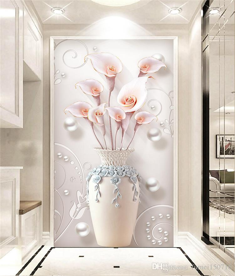 3d Vase Lily Floral Wall Paper Murals Living Room Entrance Wall ...