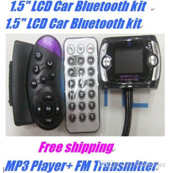 Hot Sell!! MP3 Player+ FM Transmitter Bluetooth Car Kit Steering Wheel Remote Handsfree Wireless Car Bluetooth Kit Car for Mobile phone free
