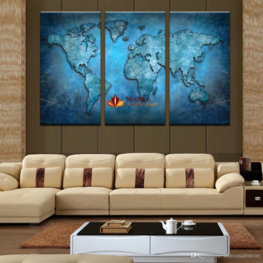 No frame Grande Toile Art Bleu carte HD Wall Art Image Toile Impression Peinture Pour Salon Décoration Photo Maison