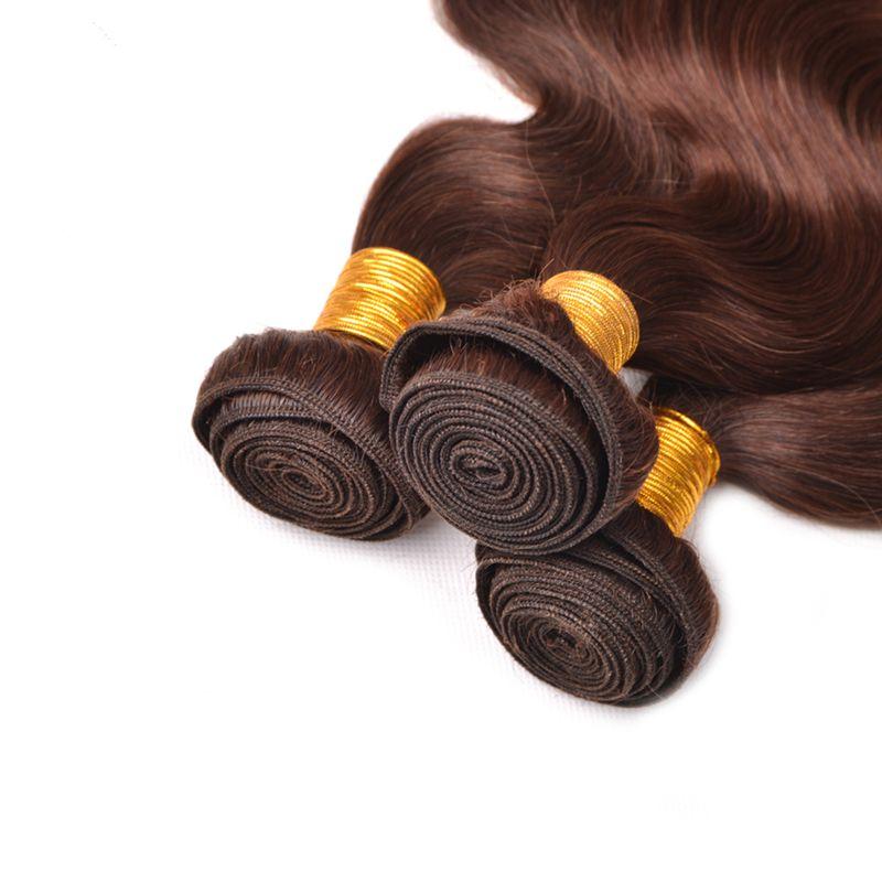 New arrival Chocolate Brown Virgin Human Hair Bundles #4 Brazilian Body Wave Human Hair Extension Medium Brown Body Wave Hair Weft For Woman