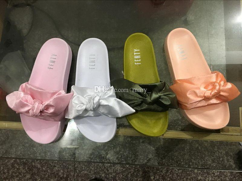 brand new 8a3ff bc917 Fenty Rihanna Bandana Slide Women Slippers Fenty Bow Slide Indoor Sandals  With Shoes Box Size 35-40