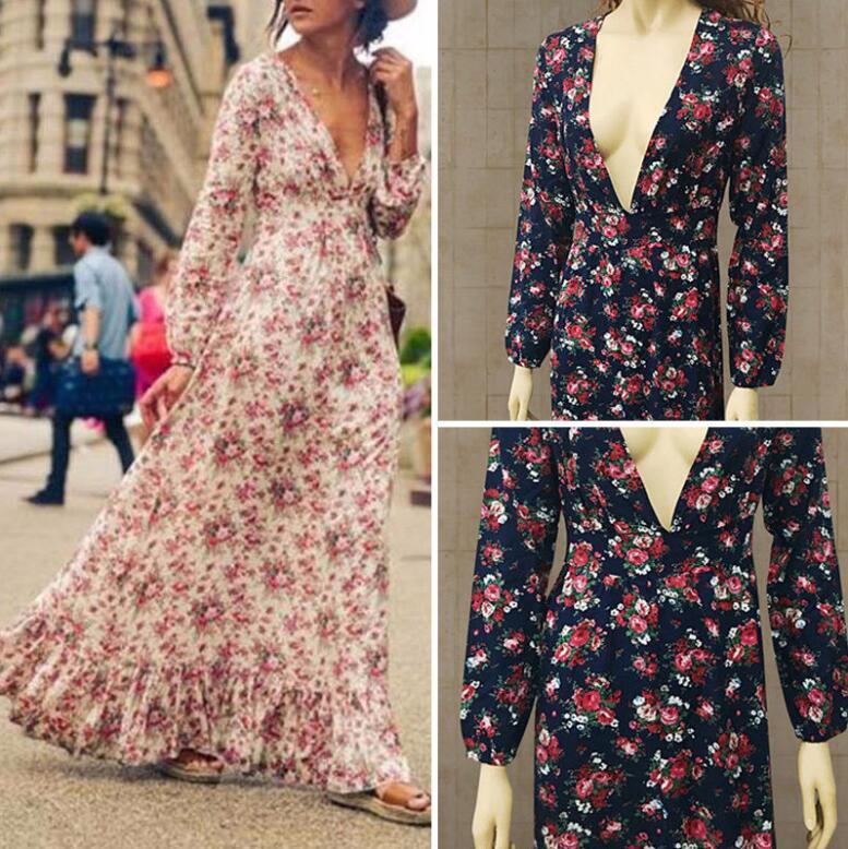 8c75f0edfe 2019 Bohemian Printed Long Dress Women Floral Printed Maxi Dresses Hippe Deep  V Neck Ruffle Dress Chic Boho Clothing Rome Femme From Heyan0117, ...