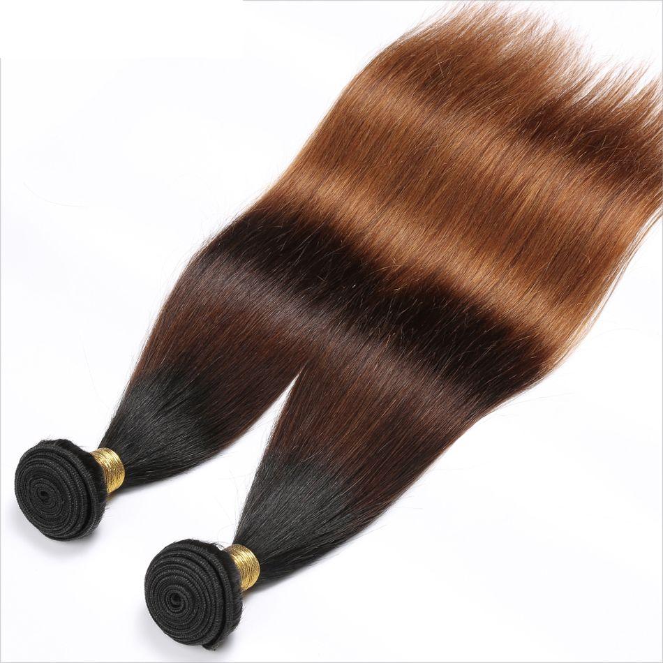 Perulu Düz İnsan Saç Remy Saç Örgüleri Ombre 3 Tonluk 1B / 4/30 Renk Çift Atkı 100 g / adet Boyalı Olabilir Ağartılmış