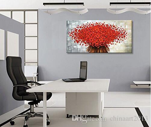 Aucun cadre peint à la main abstrait toile mur Art moderne rouge fleur peinture à l'huile oeuvre contemporaine Floral