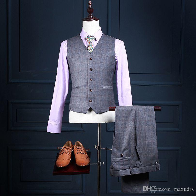 2017 새로운 디자인 웨딩 슈트 더블 브레스트 비즈니스 정장 신랑 턱시도 Groomsman 정장 맞춤 제작 남자 양복 재킷 + 바지 + 조끼
