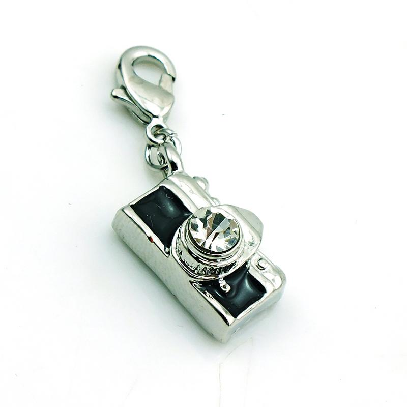Wholesale Fashion Lobster Clasp Charms Black Enamel Camera Pendants DIY Floating Locket For Charms Jewelry Component