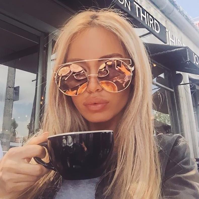 7a61520587e Oversized Rose Gold Popular Mirror Sunglasses Cat Eye Brand Designer 2016  New Women Big Size Metal Frame Cateye Sun Glasses Lady Prescription Glasses  ...