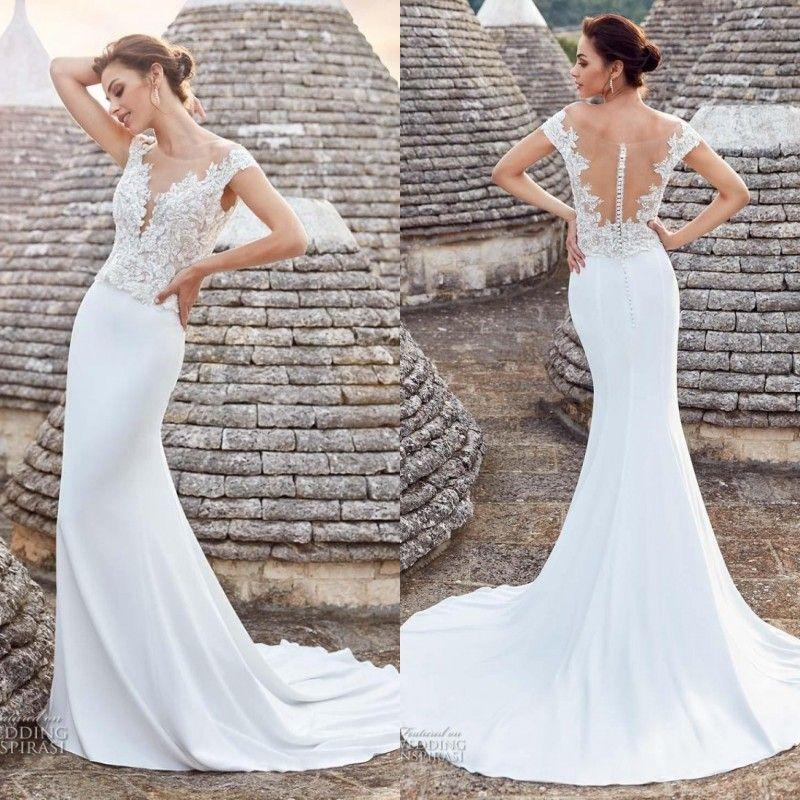 Elegant Beach Wedding Dresses Mermaid Bateau Neck Fit And Flare ...