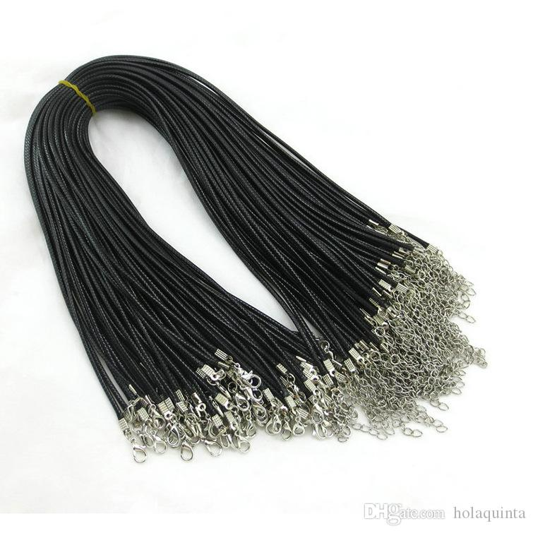 Barato Collar de serpiente cuero cera negra cordón cordón cuerda 45cm extensor cadena con broche langosta DIY componente joyería