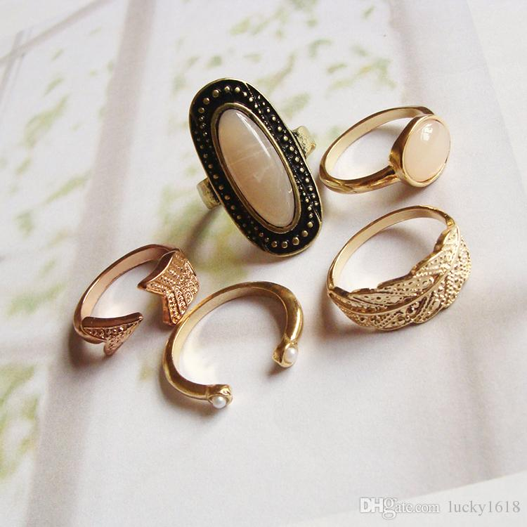 Hot sale new arrivel stone ring 4 pcs/bag with gold planted ...