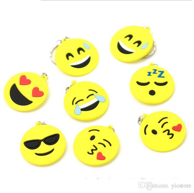heißer verkauf 2017 QQ Emoji Schlüsselanhänger Kleine Keychain Emotion Gelb QQ ausdruck Gefüllte PVC Puppe Spielzeug 6 design emoji pvc schlüsselring freies verschiffen
