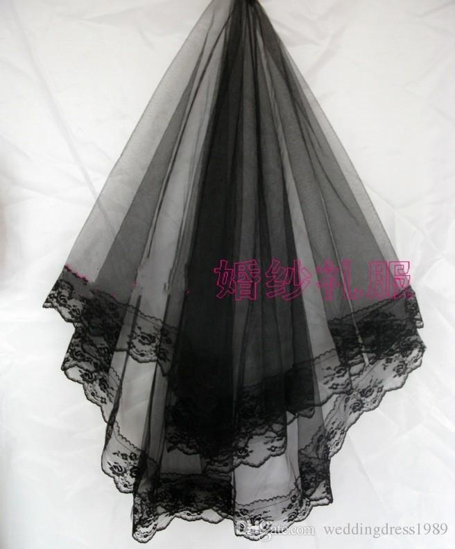 Charming Lace Wedding Bridal Veils Without Comb One layer Veil Wedding Accessory Spring Cheap In Stock Black Color