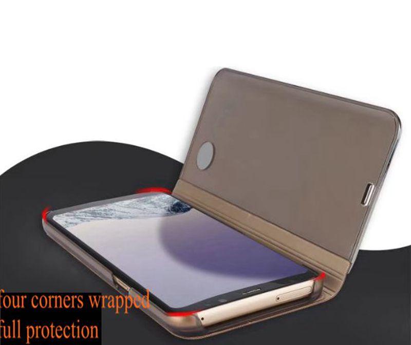 Smart View Cas de téléphone pour Samsung Galaxy S8 Plus S8 J5 Premier J7 Premier On5 On7 Placage Miroir Flip Couverture Téléphone Cas Avec Fonction Kickstand