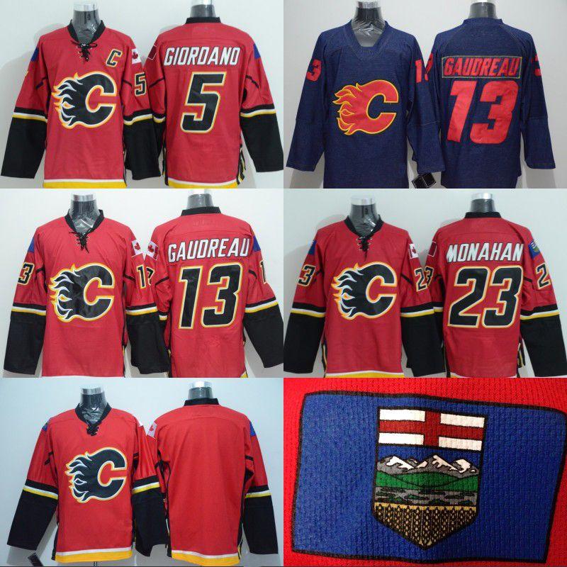 Mens Calgary Flames Jersey 13 Johnny Gaudreau 23 Sean Monahan 5 Mark ... 2ac720e58