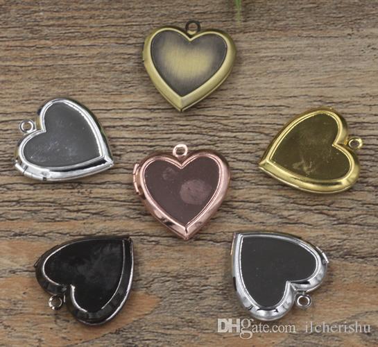 22*5MM diy Silver/antique bronze/rose gold/black gun handmade heart photo locket charms jewelry, small metal picture frame pendants wish box