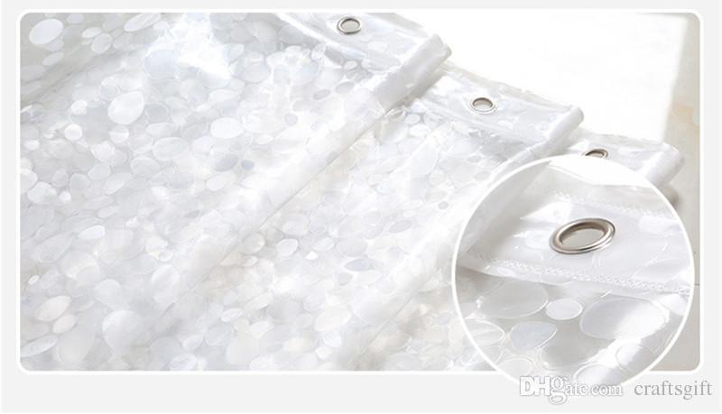 Embossing 3D Eva Transparent Douche Rideaux Cobblestone Mosaïque Modèle Rideau de bain Simple Étanche Solide Couleur Rideau de douche avec crochets