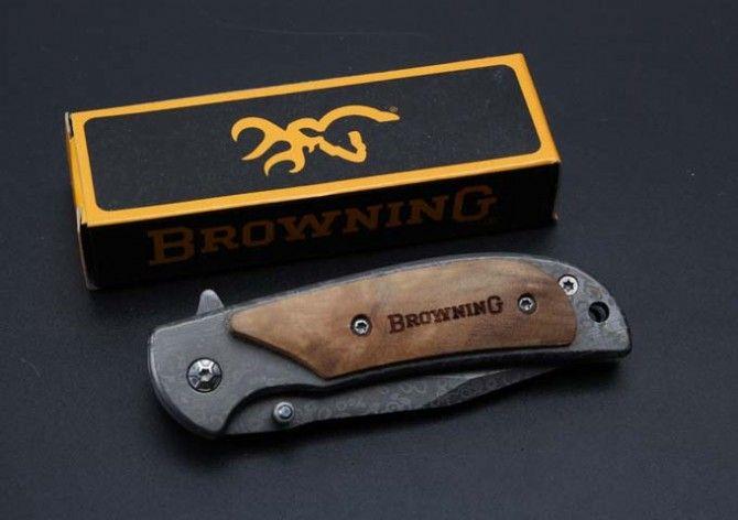 Browning 338 Copia de Tamaño Pequeño Damasco Tactical Cuchillo Plegable 440C 57HRC Rápido Abierto de Caza de Camping Al Aire Libre de Bolsillo de Supervivencia de Colección EDC