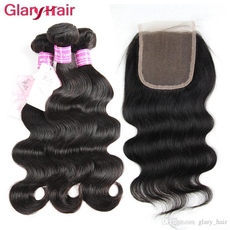 Venta al por mayor B2B Brasileña de la Virgen brasileña del cabello humano Bundles onda del cuerpo con Remy barato cabello humano teje 1 pieza 4x4 Top Lace Closure