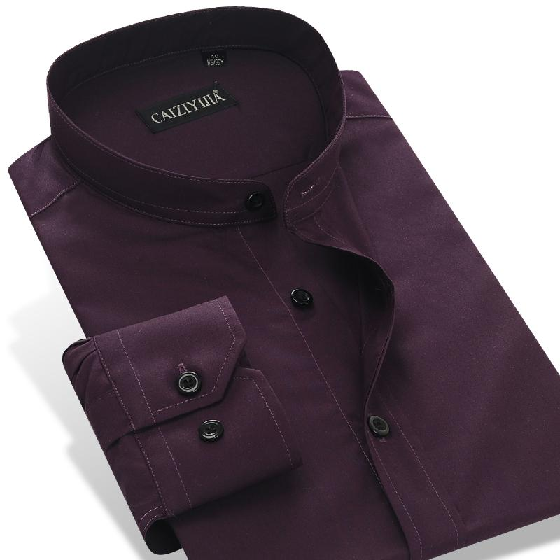 5ccaf68e462b Wholesale- CAIZIYIJIA 2017 Men's Long Sleeve Dark Purple Banded Collar  (Mandarin Collar) Dress Shirt Cotton Slim-Fit Solid Formal Shirts