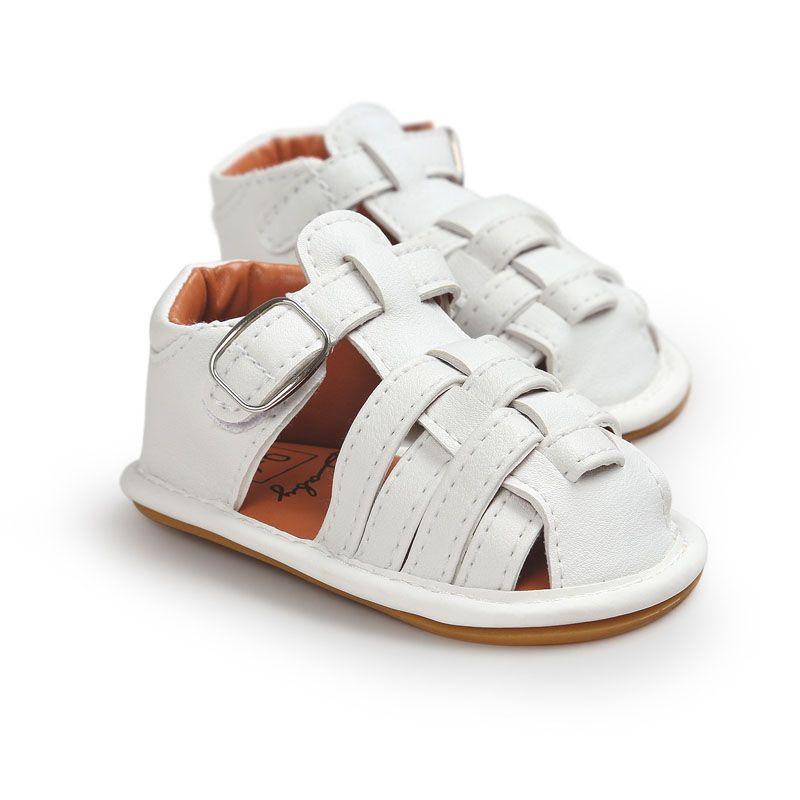 4 Farbe Baby Sommer Gladiator Sandalen weiche Sohle PU Leder Kinder Neugeborenen Maccasions Buckle Strap Schuhe Prewalker B001