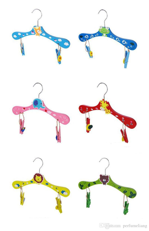 28cm Baby Hangers for Clothes Wooden Animal Cartoon Children Kids Slip-resistant Clothing Rack Closet Garment Organizer ZA3457