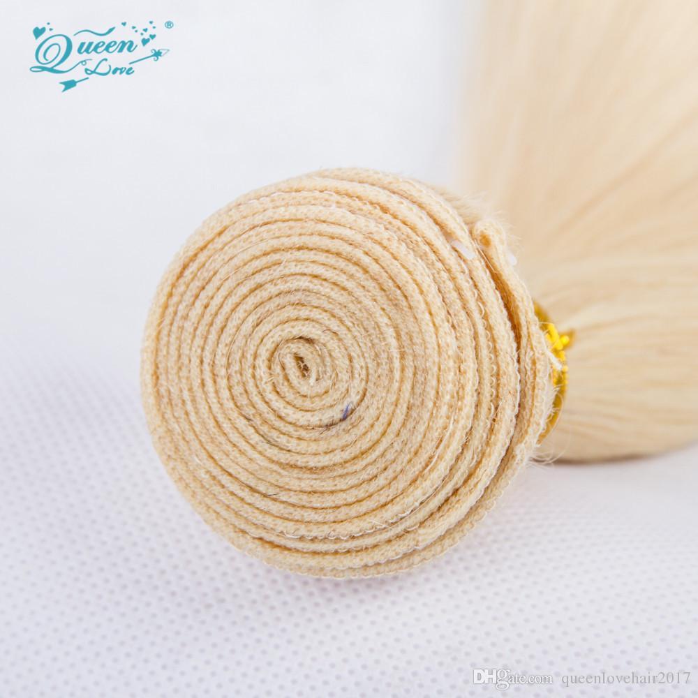 Queen Love Blonde Human Hair Bundles 613 Virgin Hair Extensions Brazilian Straight Human Virgin Hair Weave