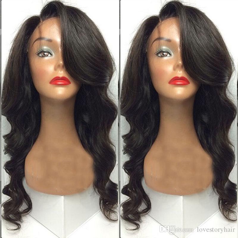 Glueless Full Lace Wigs Para As Mulheres Negras Peruano Onda Do Corpo Do Cabelo Lace Front Perucas com franja lateral