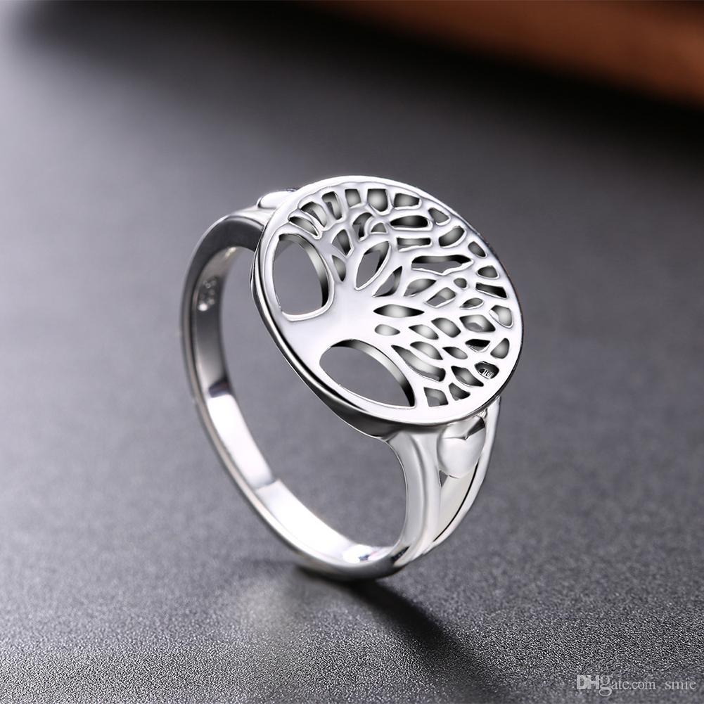 Mode Baum des Lebens Ring Classic Zubehör 925 Sterling Silber Überzogene Hohl Lebensbaum Herz Ringe Für Frauen