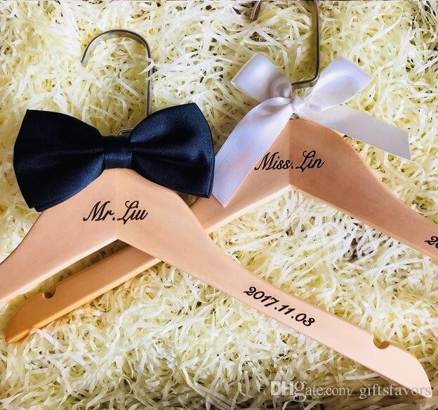 Free Shipping Personalized Rustic Wooden Wedding Dress Bridal Hanger Custom Hangers