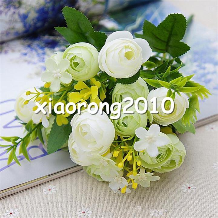 "Fake Spring Camellia Bunch 28cm/11"" Length Artificial Flowers Tea Rose Camellias 5 Stems Bunch for DIY Bridal Bouquet Accessories"