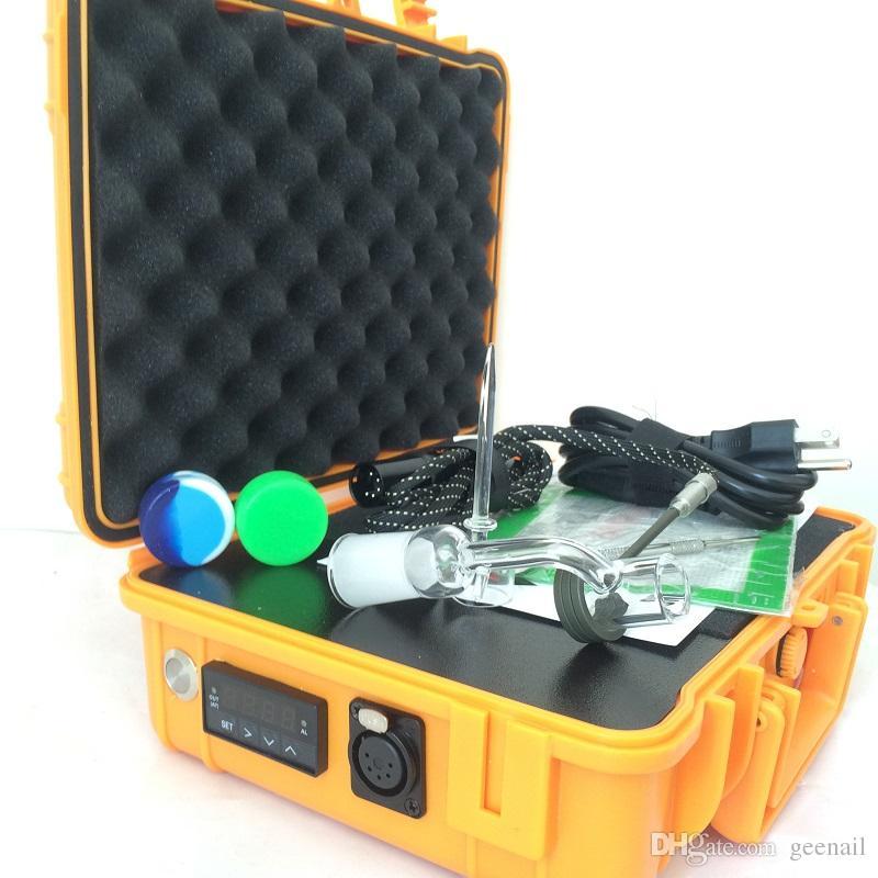 2017 Pelican Box chiodo elettrico chiodo al quarzo titanio kit kit bong portatile olio rig PID controllo temperatura scatola dabber 110 V 220 V