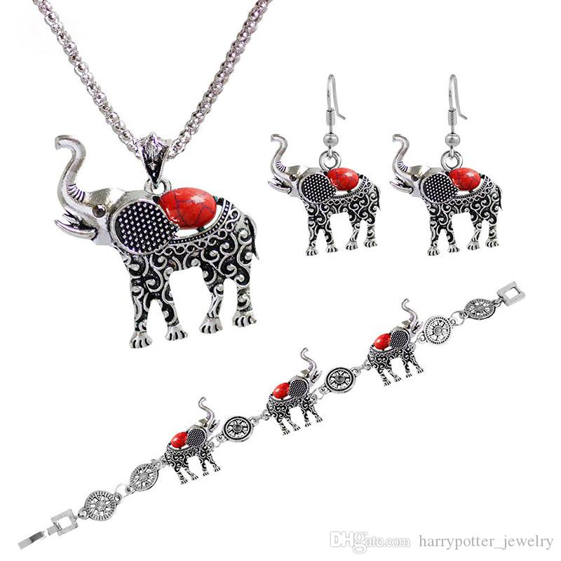 Turquoise Jewellery Set Antique Silver Plated Elephant Necklace and Earrings Sets for Women DitJIov