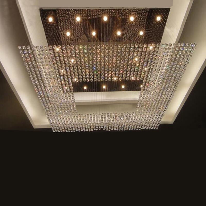 New Square Modern String Big Crystal Chandelier Hotel Lobby Lighting Clear Glass Pendant Lamp From Dh996zhenhao