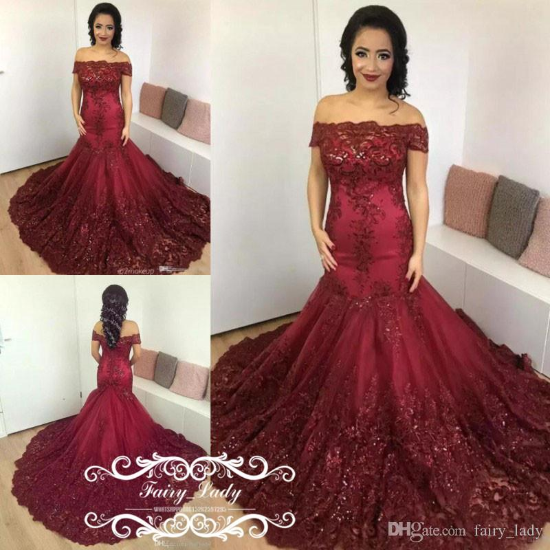 c3955099adfd Gorgeous 2018 Gormal Burgundy Long Court Train Evening Dresses Puffy  Mermaid 3D Floral Appliques Beading Off Shoulder Prom Dress Party Gown Gowns  For Womens ...