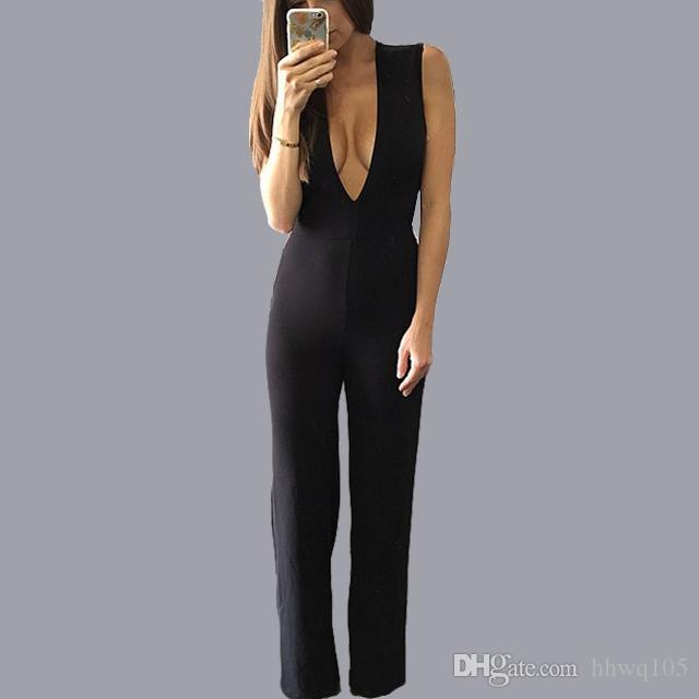 9a1d79812ea3 2019 Women S Black Wide Leg Jumpsuit Romper Sleeveless V Neck Backless Jumpsuits  Ladies Summer Long Party Jumpsuits Playsuit ZSJF0455 From Hhwq105