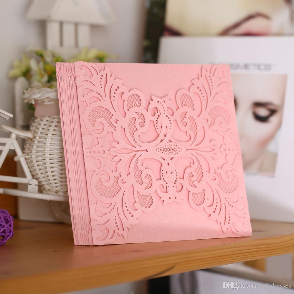 Festa di nozze Party Invitation Card Romantico Carte decorative Busta Busta delicata Pattern intagliato Inviti di nozze Fornitura del partito