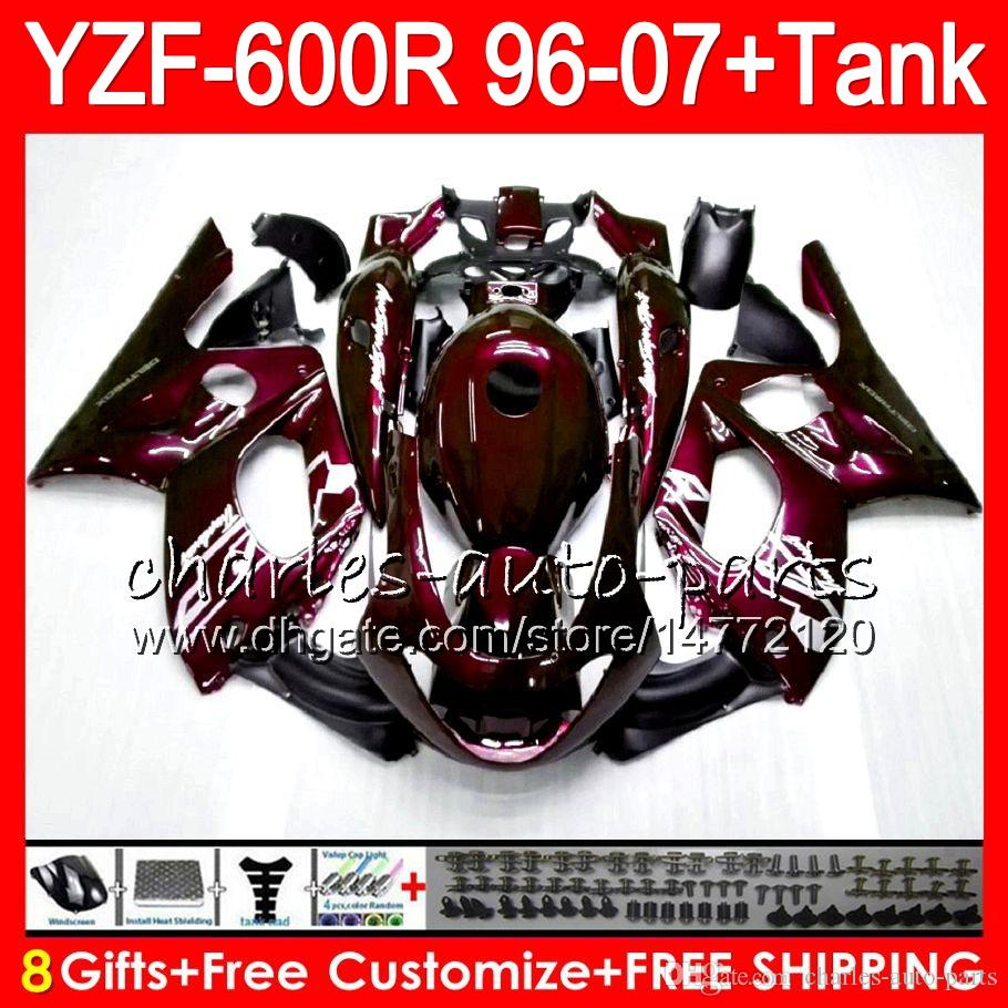 8Gift For YAMAHA YZF600R Thundercat 96 97 98 99 00 01 Wine red 53HM18 YZF-600R YZF 600R 1996 1997 1998 1999 2000 2001 Fairing kit