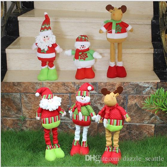 2017 Merry Christmas Office Decor Elastic Cartoon Dolls Santa Claus Snowman  Christma Toys Christmas Decorations Baby Girls Children Gifts Decorating  For ...