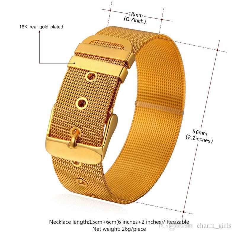 Gute Qualität! 18K Gold / schwarze Gewehr überzogene Armband-Edelstahl-Armband-Mannfrauen-Uhrarmband-Armband-neue Art und Weise