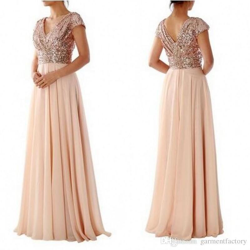 Rose Gold Sequin Long Bridesmaid Dresses Modest V Neck Short Sleeves ...