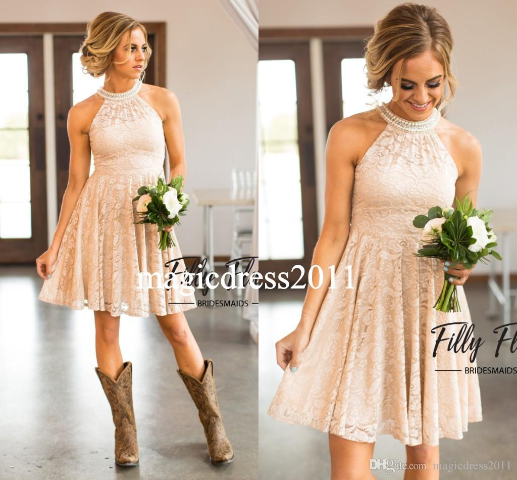Modern Nude Country Bridesmaid Dresses 2019 A Line Halter