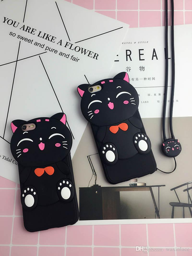 huge selection of f70c0 ad9b8 3D Cute Cartoon Lucky Cat Soft Silicone Phone Case Back Cover Skin Shell  For VIVO Y55/x6plus/x7 R9/R9 Plus A37/A59