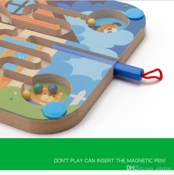 Hot New Magnetic Cartoon Animal Labyrinth Toy Wooden Dinosaur Maze Mini Balls Moving By Magnetic Pen Parenting Family Game Educational Toys