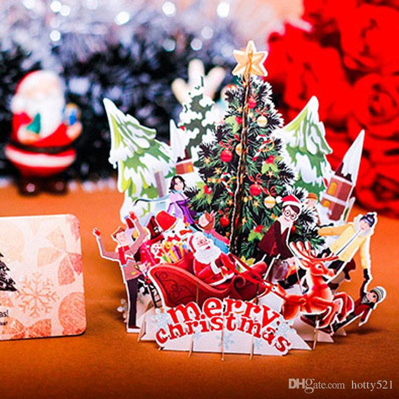 New 3d handmade christmas tree santa claus greeting cards creative greeting cards have a long time history in the old time people send greeting cards to show their friendly and apparition nowadays with the development m4hsunfo