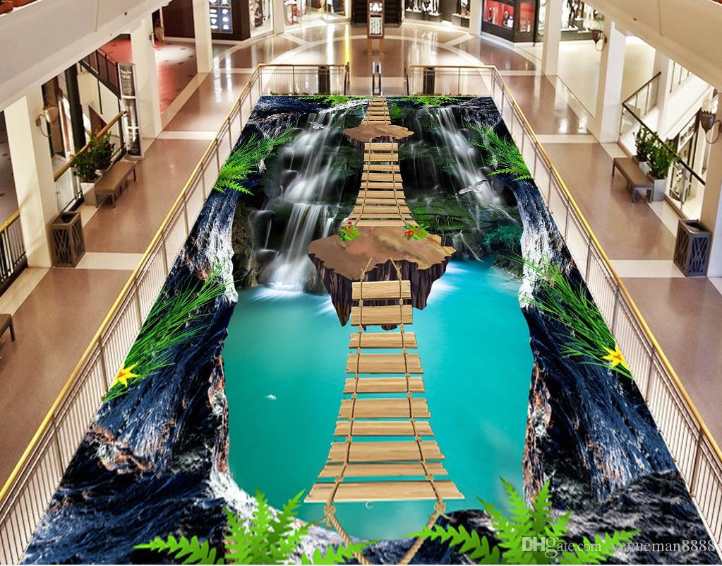3d flooring Custom wallpaper scenery for walls Cliffs Stream waterfall 3d floor modern wallpaper for the bedroom 3d floor wallpaper